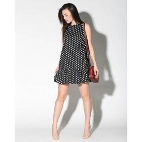 Платье женское в белый горох, цвет чёрный, р-р 44-46