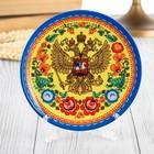 "Plate, ceramic ""coat of Arms,Gorodetskaya Rospis """
