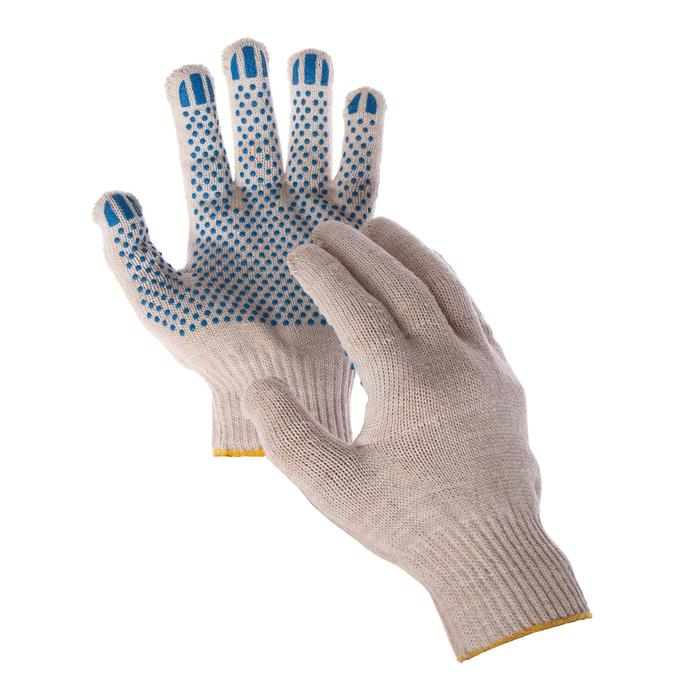 Перчатки, х/б, вязка 10 класс, 5 нитей, размер 9, с ПВХ точками, белые
