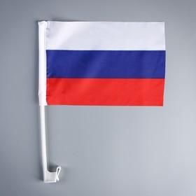 Флаг 30х20 см России, шток 36 см, полиэстер, пластик Ош