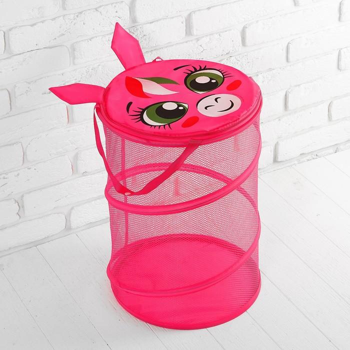 Корзина для игрушек «Пони», с ручками и крышкой, 33 х 43 см