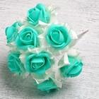 Букет d=17, 9 цветков, бирюзовый