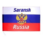 The flag is 60x90 cm, Saransk, tricolor, coat of arms of Russia, polyester