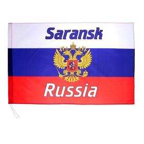 Флаг 60х90 см, Саранск, триколор, герб России, полиэстер Ош