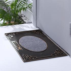 Коврик придверный резиновый Доляна Welcome, 40×70 см, цвет МИКС