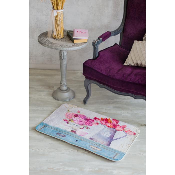 Коврик для дома «Натюрморт», 45×80 см, цвет голубой