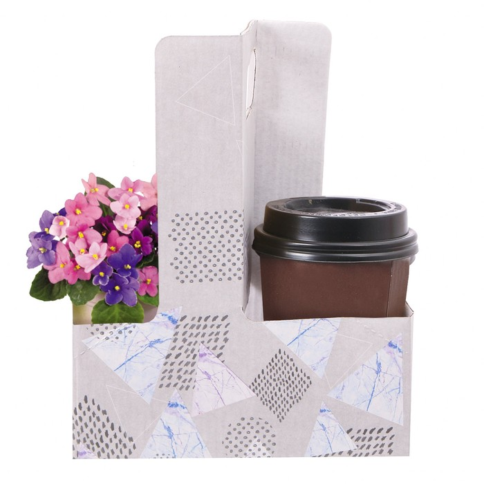 Переноска для цветов и кофе «Геометрия», 21.5 × 17 × 8 см