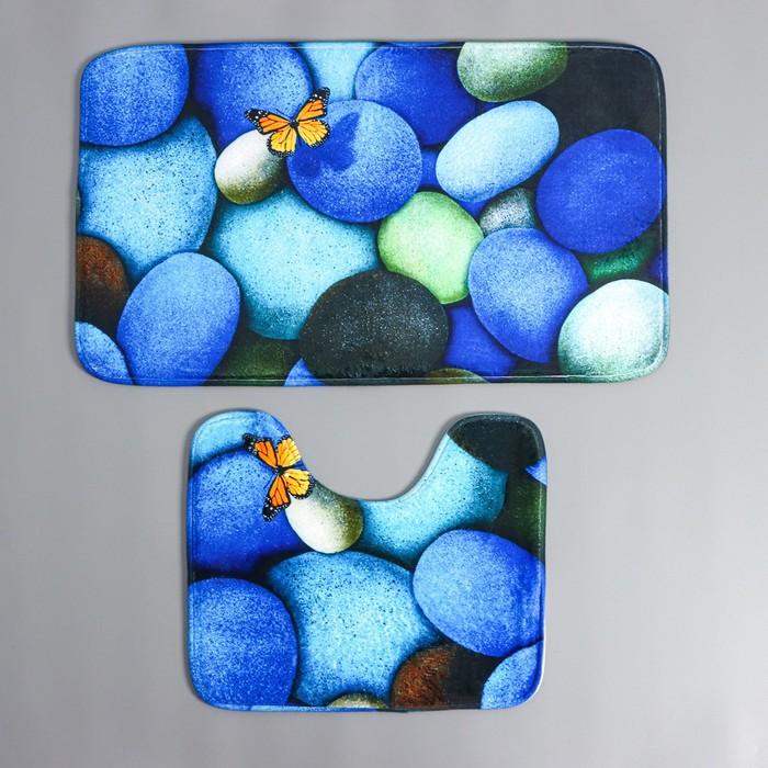 Набор ковриков для ванны и туалета Доляна «Камни», 2 шт, 38×45, 43×73 см