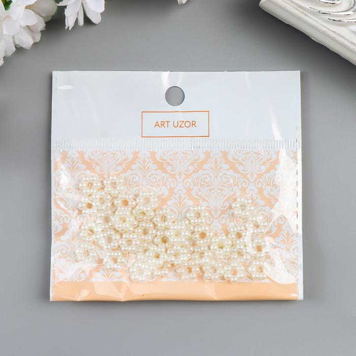 """Декор для творчества пластик """"Цветочек-горошек"""" жемчужный набор 40 шт 0,6х0,6 см"""