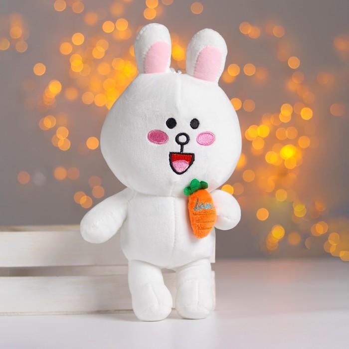 """Мягкая игрушка """"Белый зайка с морковкой"""""""