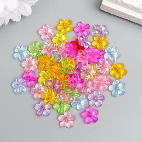 """Декор для творчества пластик """"Цветок"""" прозрачный набор 50 шт 1,2х1,2 см"""