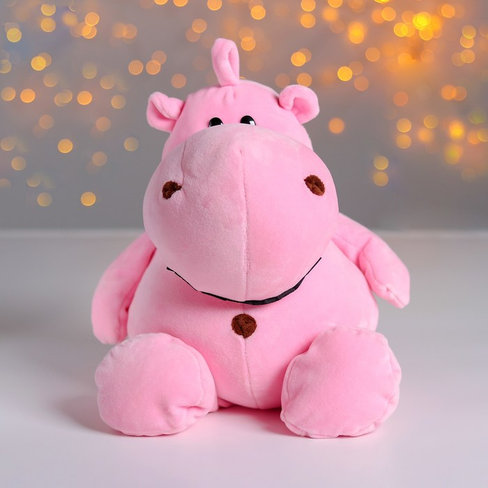 """Мягкая игрушка """"Бегемотик"""", цвет розовый, 30 см"""