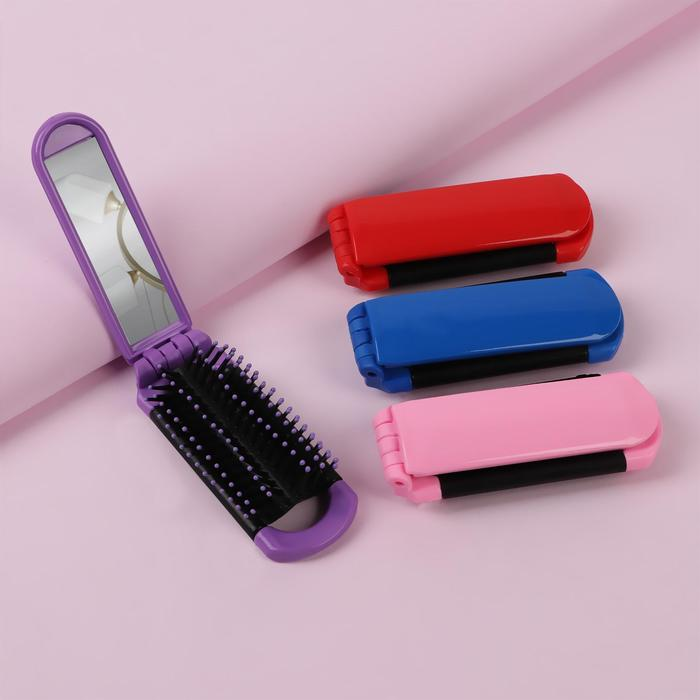 Расчёска массажная складная, с зеркалом, прямоугольная, цвета МИКС