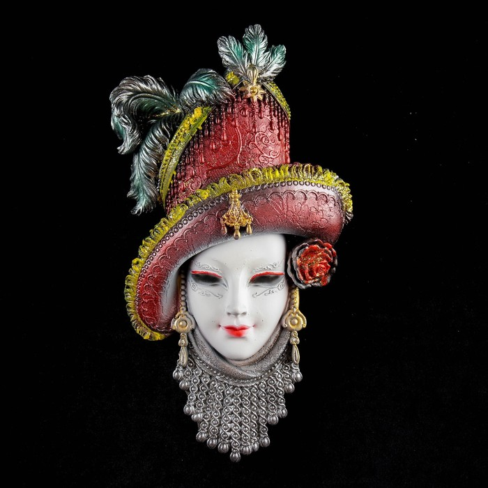 """Венецианская маска """"Леди в шляпе"""" белая 33см"""