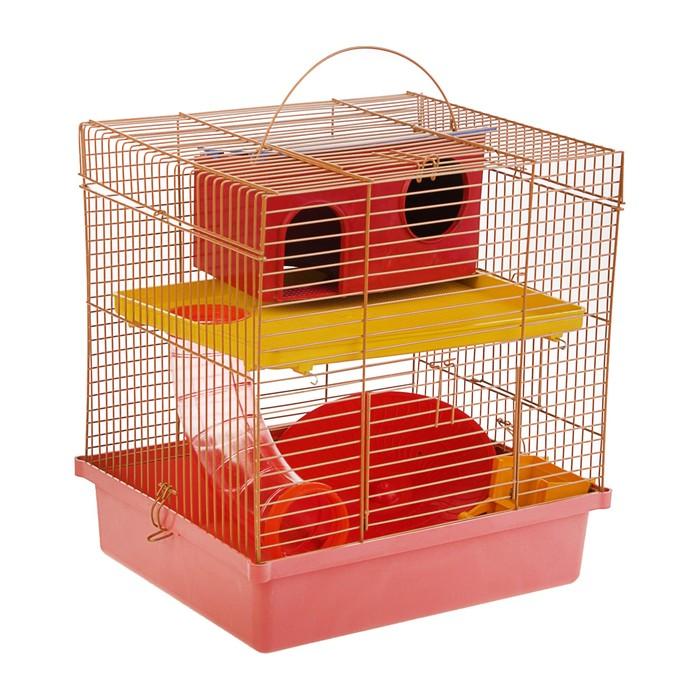 Клетка для грызунов, двухярусная, с полкой, колесом и домом, 28 х 24 х 31 см, микс