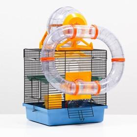 Клетка для грызунов, двухъярусная, с полкой, домом и шаром, 28 х 24,5 х 31 см, микс