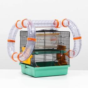 Клетка для грызунов Мини, двухъярусная, с полкой, домом и микс лабиринтов