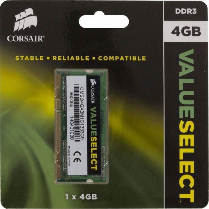 Память DDR3L 4Gb 1333MHz Corsair CMSO4GX3M1C1333C9 RTL PC3-10600 CL9 SO-DIMM 204-pin 1.35В