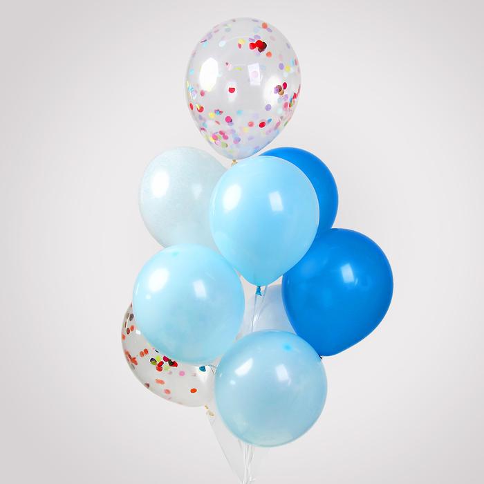 """Шары латексные 12"""", прозрачные и цветные, набор 10 шт., синий МИКС - фото 308470326"""