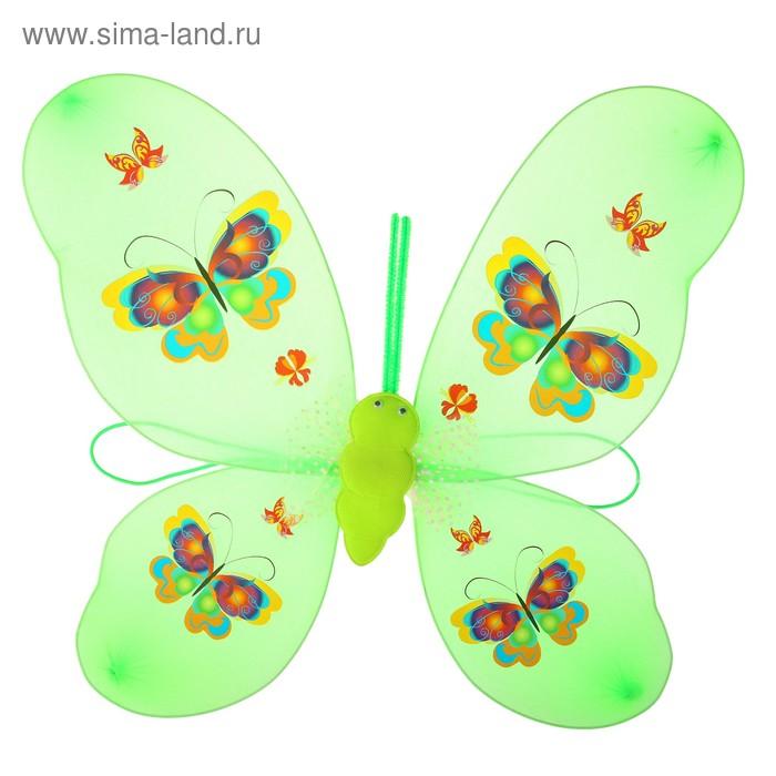 """Карнавальные крылья """"Бабочка"""" с бабочками на крыльях, цвет зеленый"""