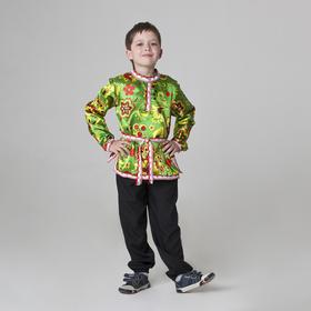 Карнавальная русская рубаха «Хохлома», атлас, р 34, рост 134 см, цвет зелёный