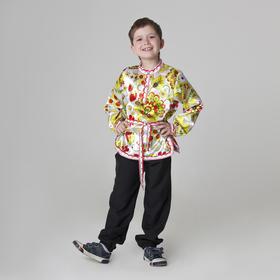 Карнавальная русская рубаха «Хохлома», атлас, р. 36, рост 146 см, цвет белый