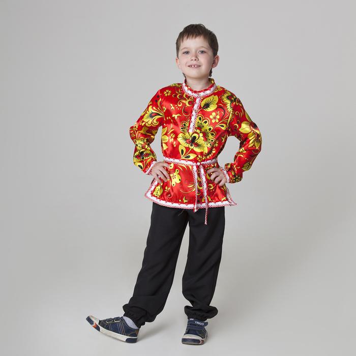 Карнавальная русская рубаха «Хохлома», атлас, р. 34, рост 140 см, цвет красный