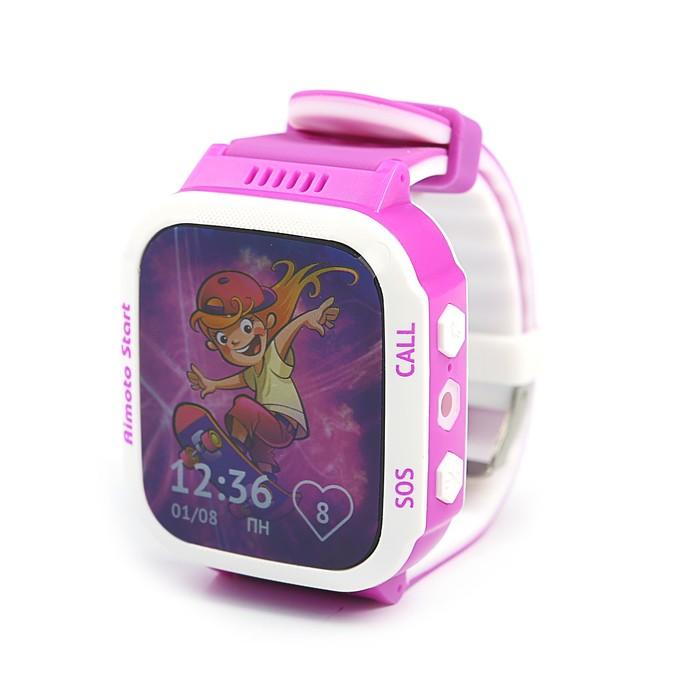 Часы умные детские Aimoto Start GPS-трекер,экстр. вызов,SOS,вызов врача,фиолетовые