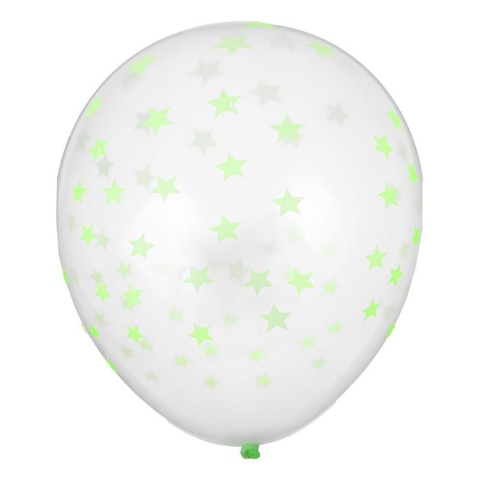 """Шар латексный 12"""" """"Зелёные звёзды, неон, прозрачный, набор 5 шт. - фото 308470328"""