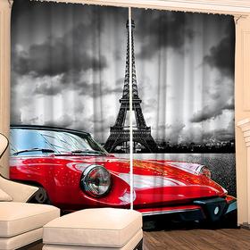 """Фотошторы """"Звезда в Париже"""" 145х260 см 2шт, габардин 160гр/м2, пэ100%"""