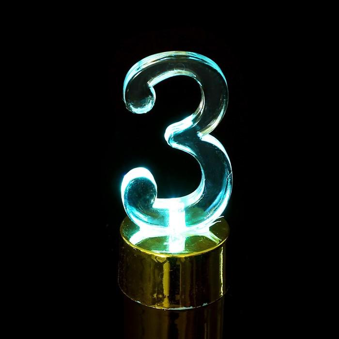 """Свеча светодиодная """"Цифра 3"""", цвет золото"""