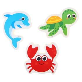 Набор игрушек для ванны «Морской мир»: наклейки из EVA, 3 шт. Ош