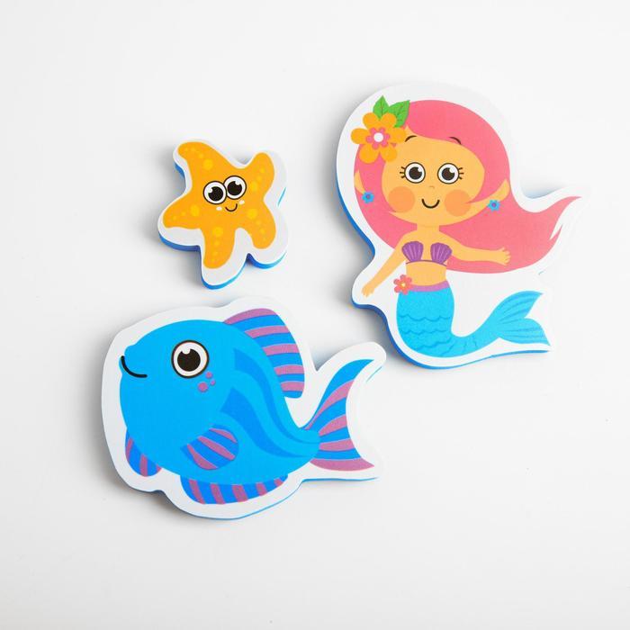 Набор игрушек для ванны «Русалочка»: фигурки-стикеры из EVA, 3 шт. - фото 105534516