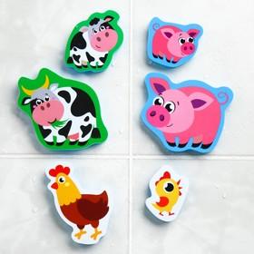Набор игрушек для ванны «Мамы и малыши»: наклейки из EVA, 6 шт.
