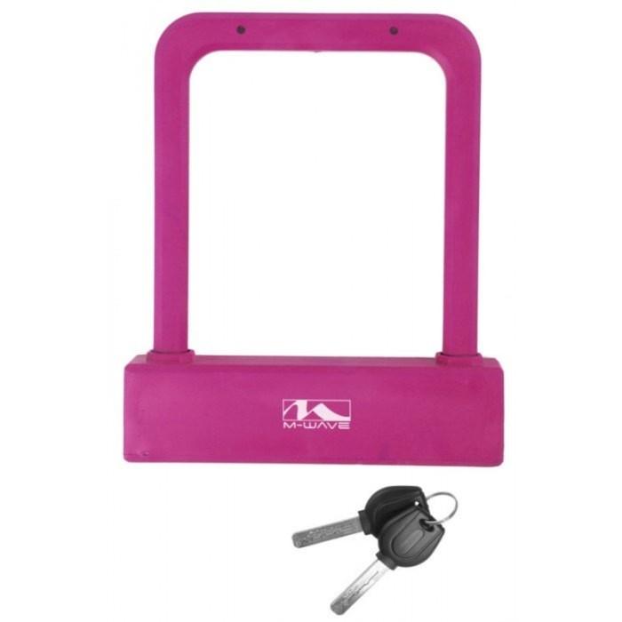 Велозамок M-WAVE, U-образный 175х205мм, пруток 16мм, силикон, цвет розовый