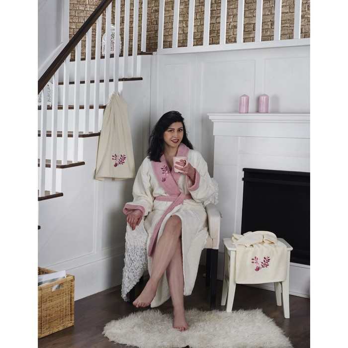 Набор Adra, халат 2XL, полотенца 50х90 см, 70х140 см, по 1 шт., молочный