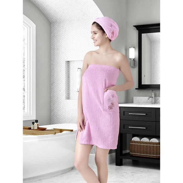 Набор для сауны женский Arven, розовый, махра, 380 г/м2