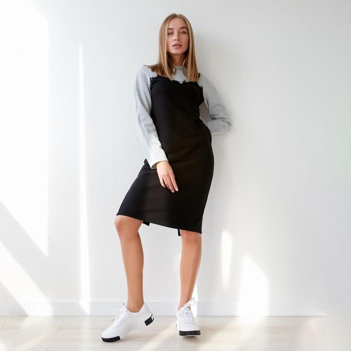 Платье женское KAFTAN, р-р 44-46, меланж/чёрный