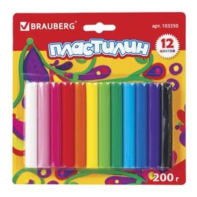 Пластилин 12 цветов 200 г, BRAUBERG высшее качество, в блистере
