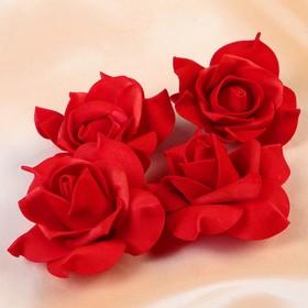 Набор цветов для декора из фоамирана, D=7,5 см, 4 шт, красный