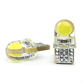 LED lamp KS, T10 (W2,1-9,5d), 12 V, white, 2 diodes COB 1sL, SILICONE, used / base