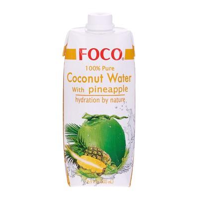 Кокосовая вода с соком ананаса FOCO 100% натуральная без сахара, 0,5 л Tetra Pak