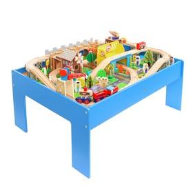 Железная дорога, 98 элементов, стол: 80 × 60 × 35 см (в комплекте)