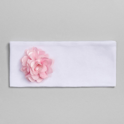 """Повязка детская """"Цветочек"""" белая с пудровым цветком, р-р 52, 100% хл, интерлок"""