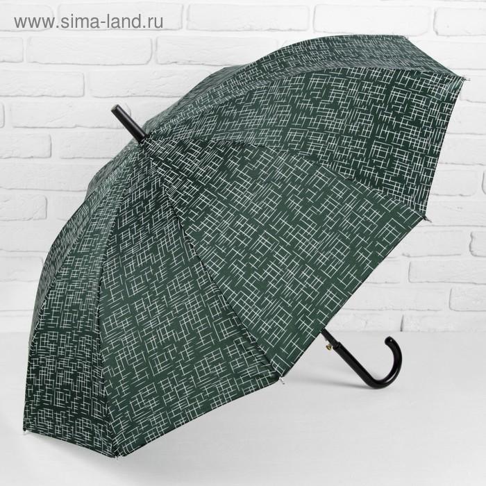 """Зонт полуавтоматический """"Чёрточки"""", трость, R=49см, цвет зелёный"""