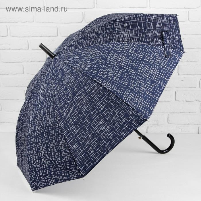 """Зонт полуавтоматический """"Чёрточки"""", трость, R=49см, цвет синий"""