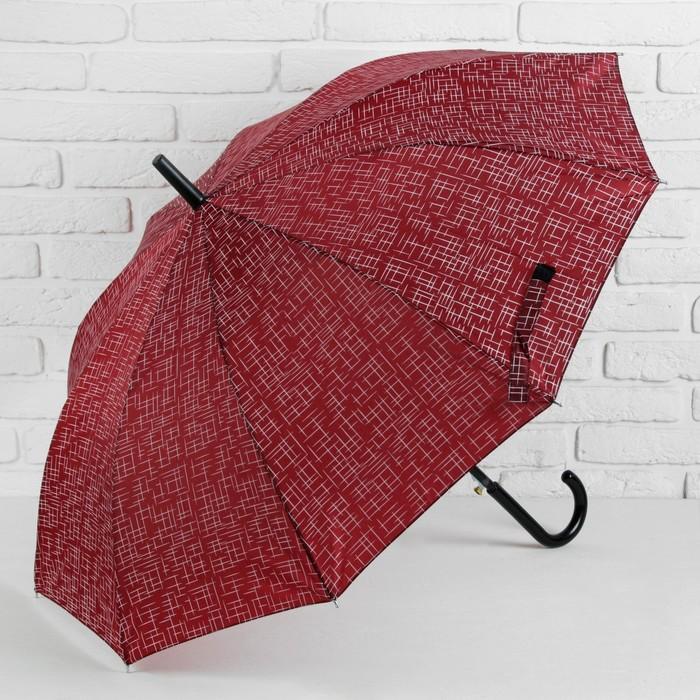 Зонт полуавтоматический «Чёрточки», 10 спиц, R = 49 см, цвет красный