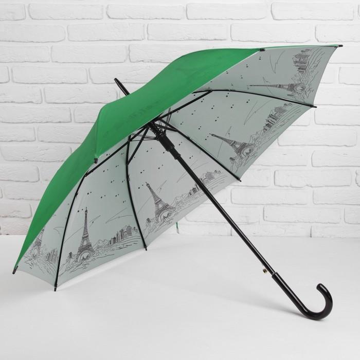 Зонт полуавтоматический «Ночной Париж», 8 спиц, R = 51 см, цвет зелёный