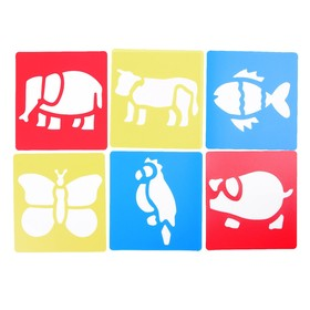 Трафареты 6 шт «Животные» лист бумаги