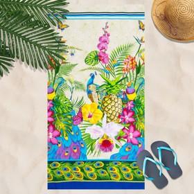 Вафельное полотенце Гаваи 80х150 см, разноцветный, хлопок 100 %, 160г/м²